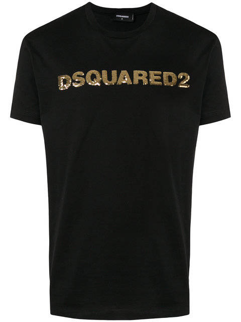 DSQUARED2 sequinned logo T-shirt Zwart - AW1819
