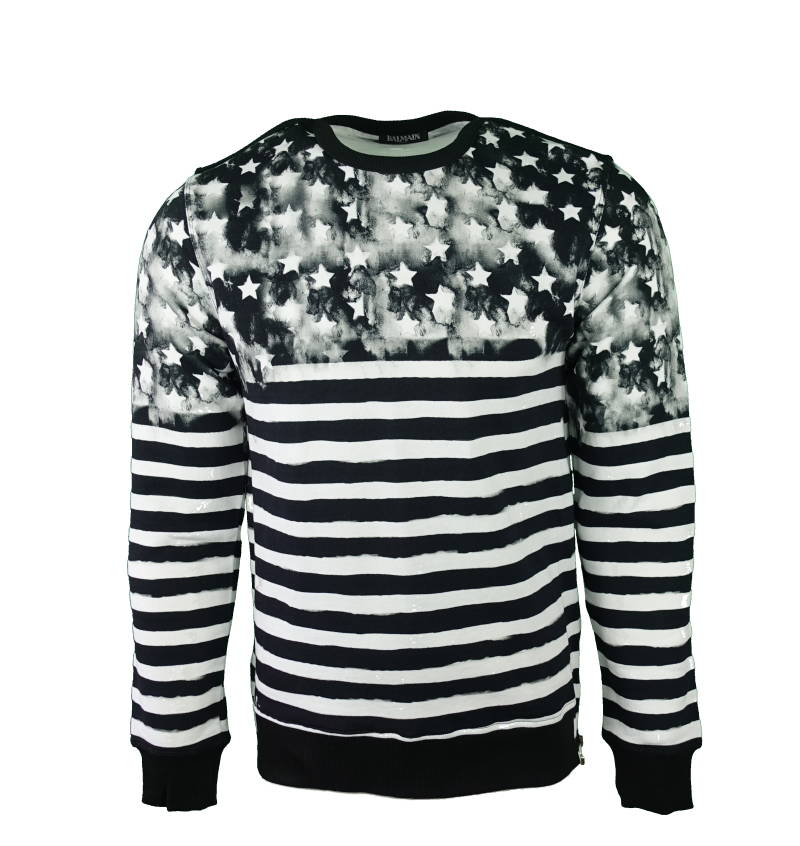 BALMAIN Stripes and Stars Jumper