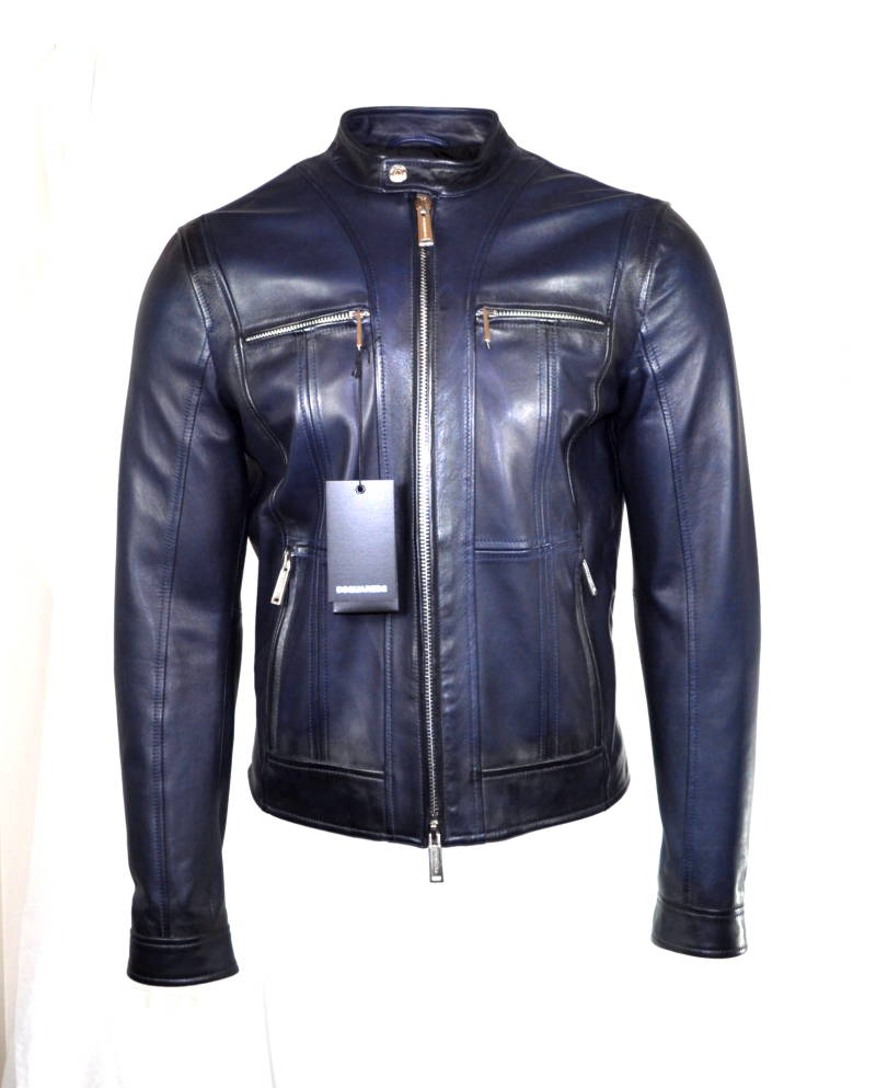 Dsquared2 Zipped Panel Leather Jacket Jas Petrol Blue Blauw