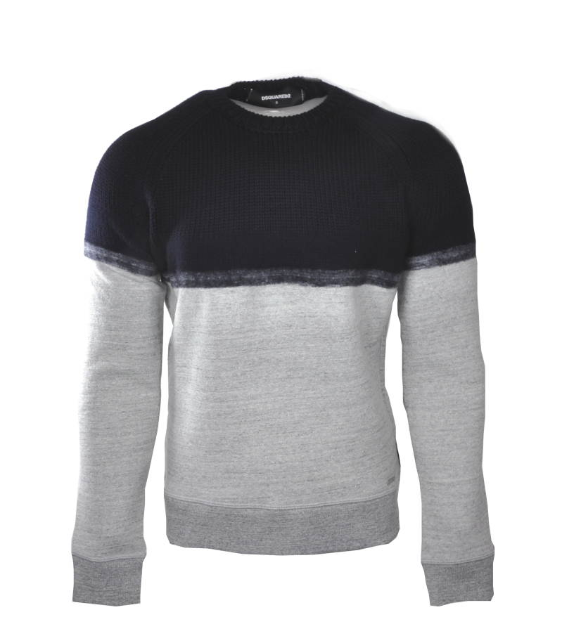 Dsquared Colorblock Wool Sweater Black Gray - AW1819