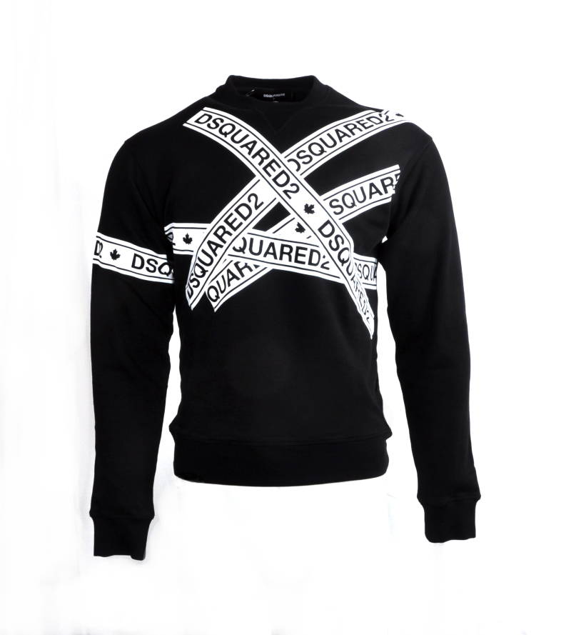 Dsquared2 Logo Tape Print Sweatshirt Black Zwart - AW1819
