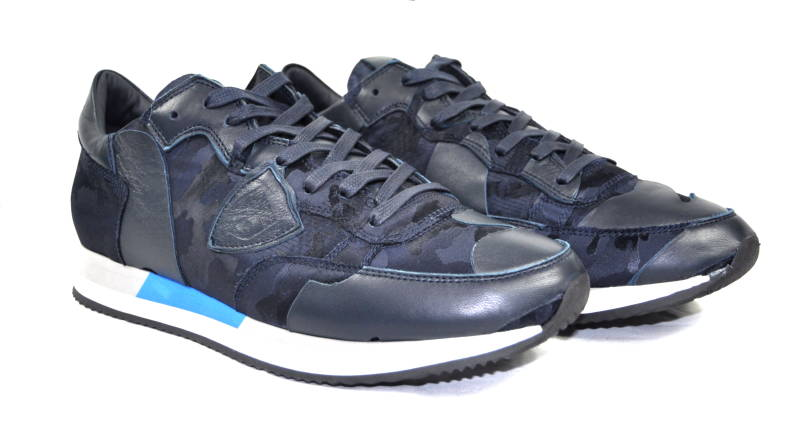 Philippe Model Tropez Sneakers Camo Blue Blauw - AW1819