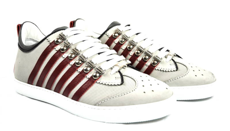 Dsquared2 Sneakers 251 White/Bordeaux Stripes - AW1819