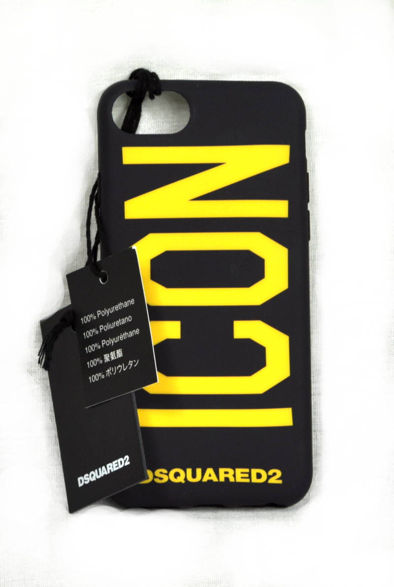 Dsquared2 Case iPhone Hoesje Icon Zwart/Geel