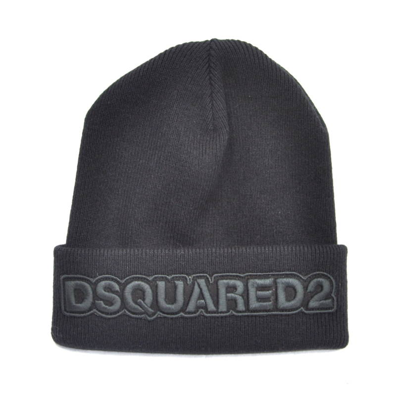 Dsquared2 Beanie Logo Embroidered Black Hat Muts Zwart - AW1819