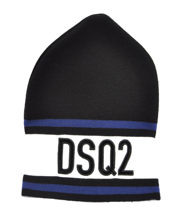 Dsquared2 Beanie Logo Embroided Black/White Muts Zwart/Wit