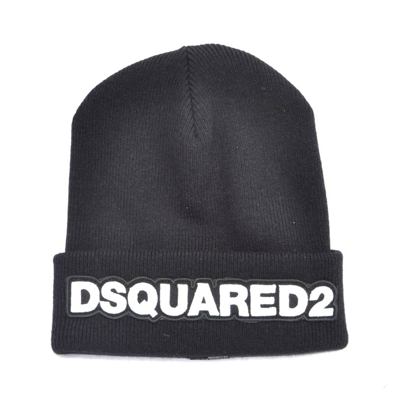 Dsquared2 Beanie Branded Hat Black/White Muts Zwart/Wit - AW1819