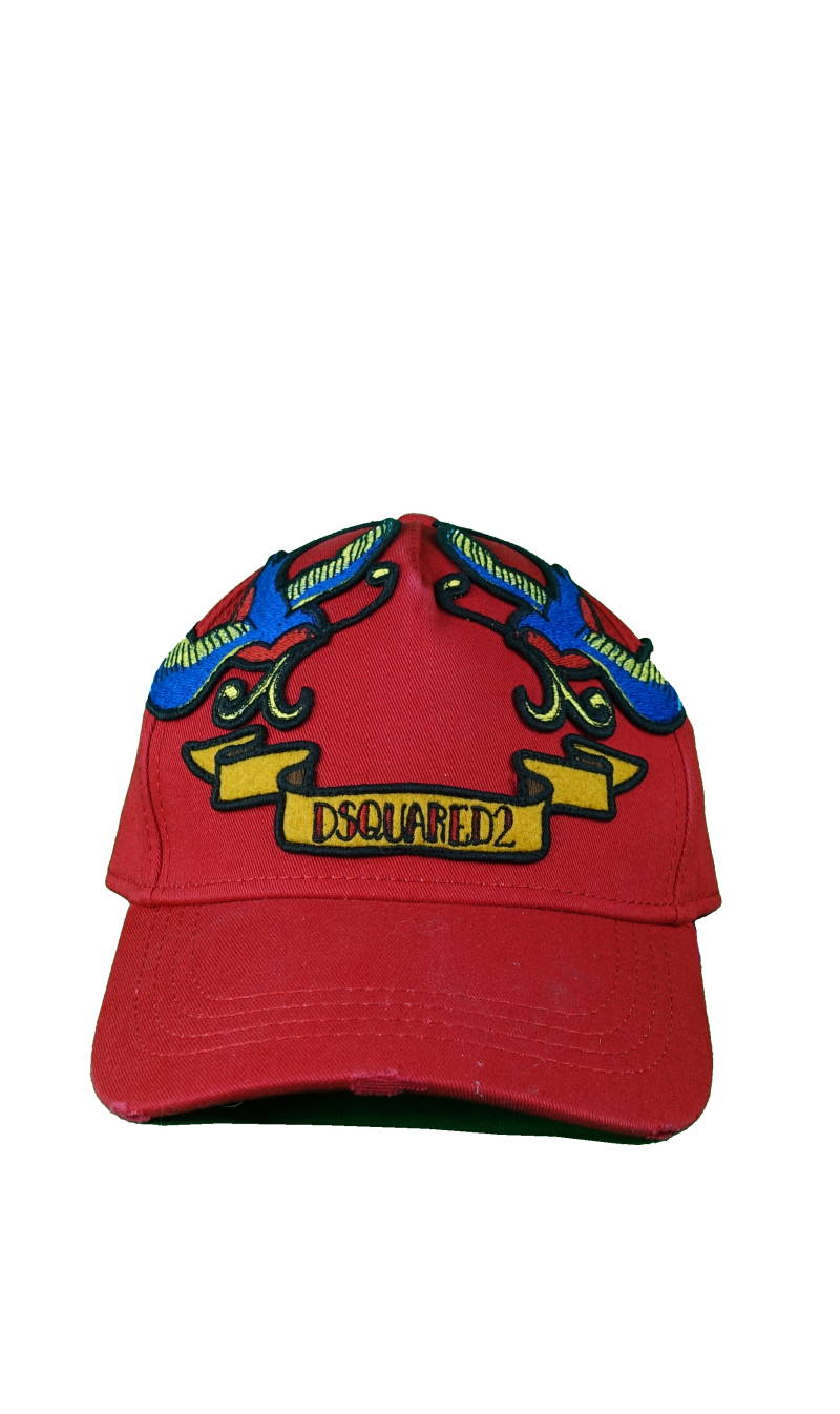 DSQUARED2 Birds Patches Baseball Cap Rood