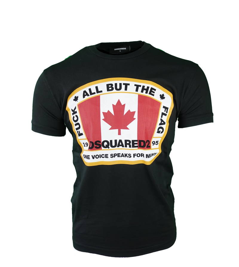 DSQUARED2 Fuck All But the Flag T-shirt Zwart