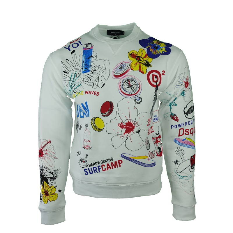 DSQUARED2 Coloured Prints Sweater Wit