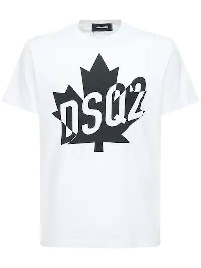 New Dsquared2 t-shirt white with black leaf SS21