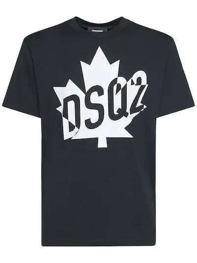 New Dsquared T-shirt black leaf