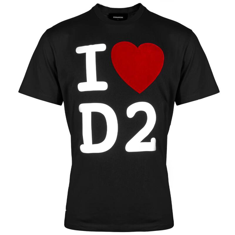 Dsquared T-shirt I love d2 zwart