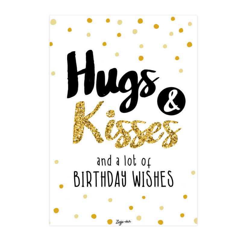Postkaart / Hugs & Kisses and a lot of Birthday wishes