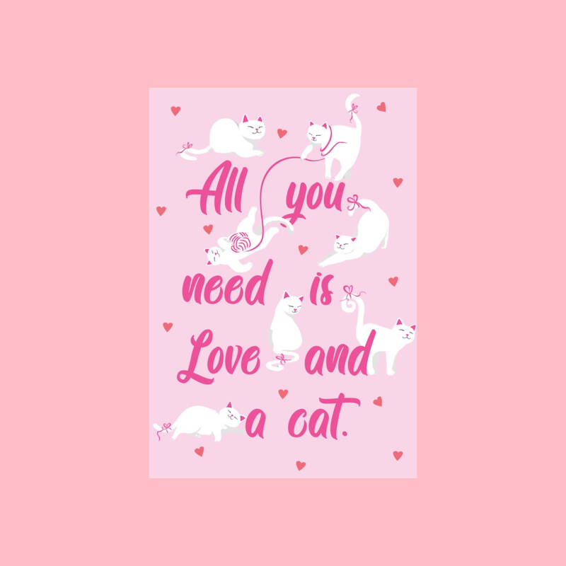 Love and a cat   Postkaart
