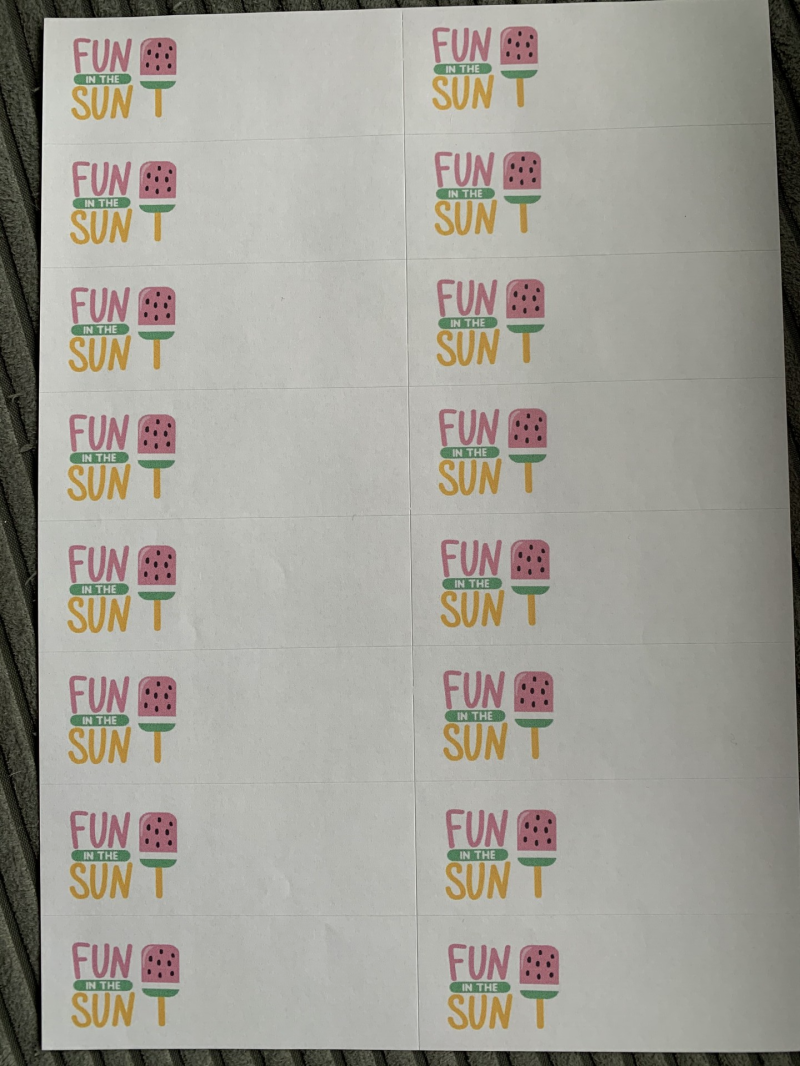 Fun in the sun label stickervel