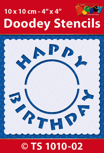 Stencil / sjabloon – Doodey – Happy Birthday - TS1010-02