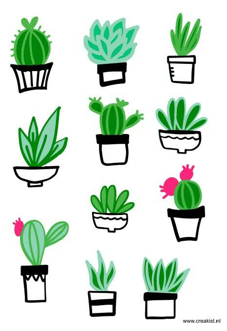 Stickers - Cactus - zwart/wit - CKSA0005