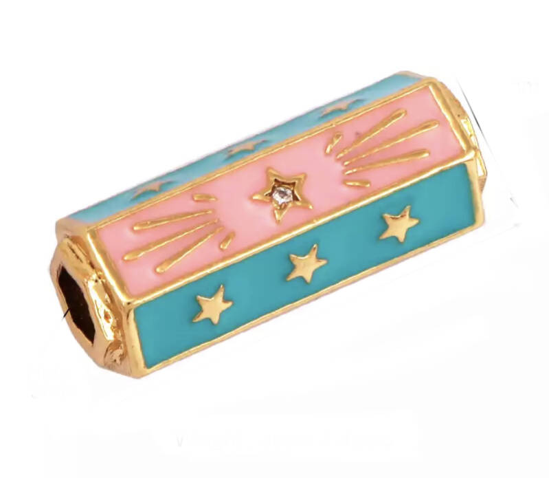 Message beads Turquoise / Pink - Gold