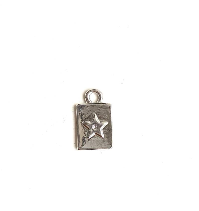 Tag small 8x10mm star silver