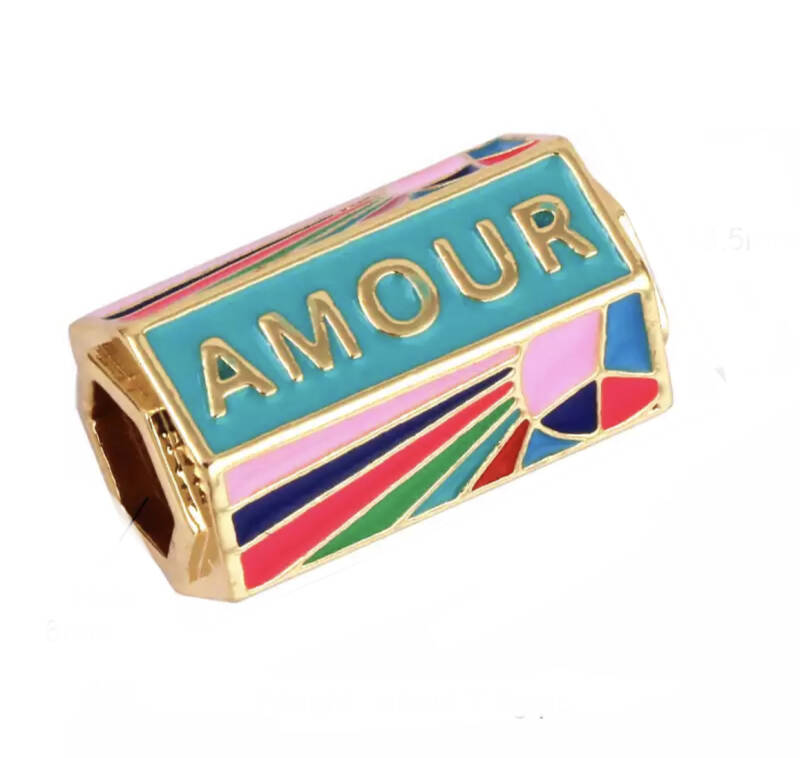 Message beads multicolor Gold Amour