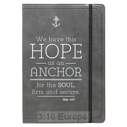 Grey Faux Leather Journal   Hope As An Anchor