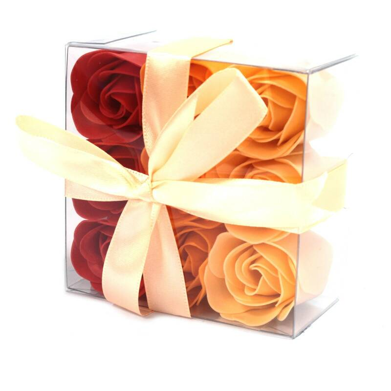 Set of 9 Soap Flower - Peach Roses.