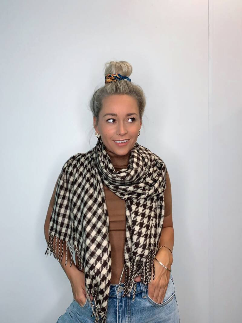 Brown Checkered Scarf