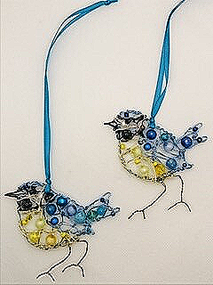 A pair of Blue Tit Christmas decorations