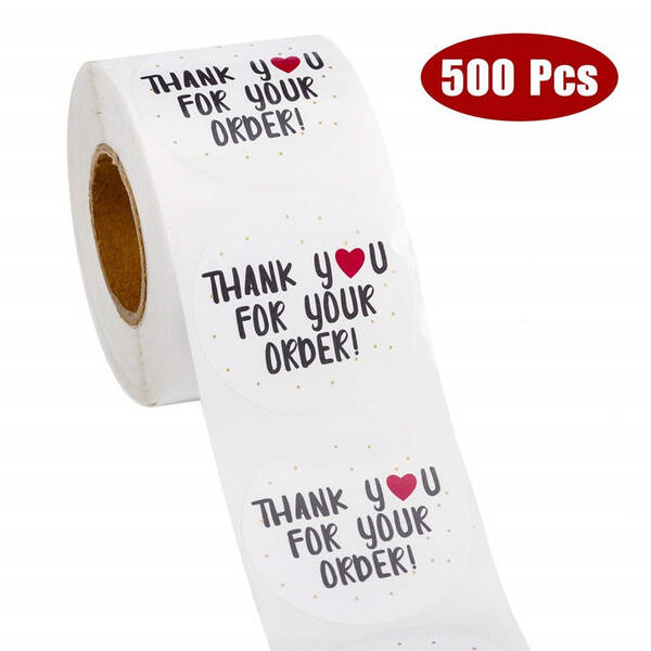 500 stickers op rol Thank you for your order 2,5cm