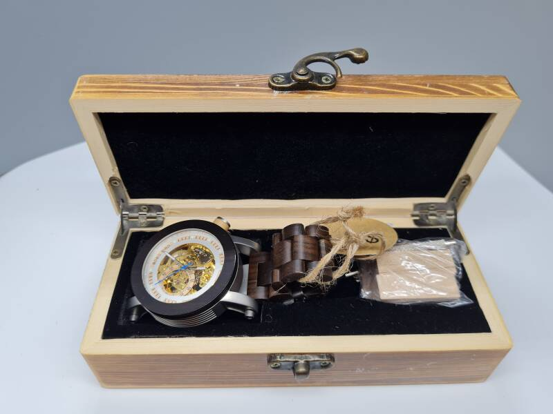 Houten horloge Skeleton incl.box