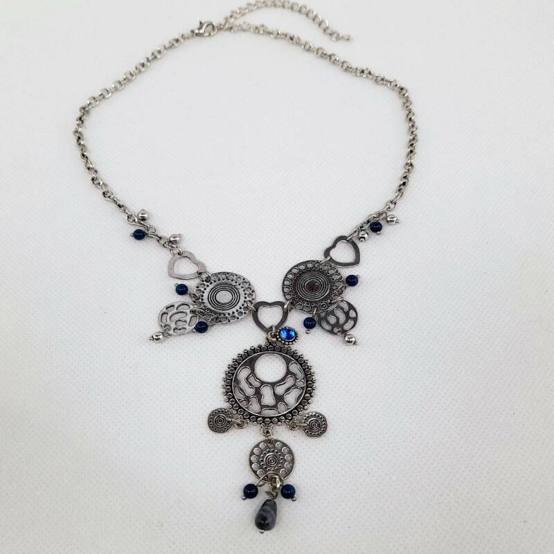 Ketting zilver plated- blauw