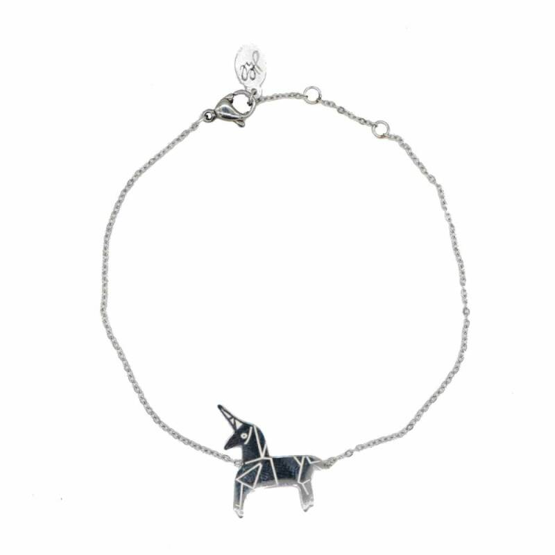 Stainless steel armband unicorn zilver