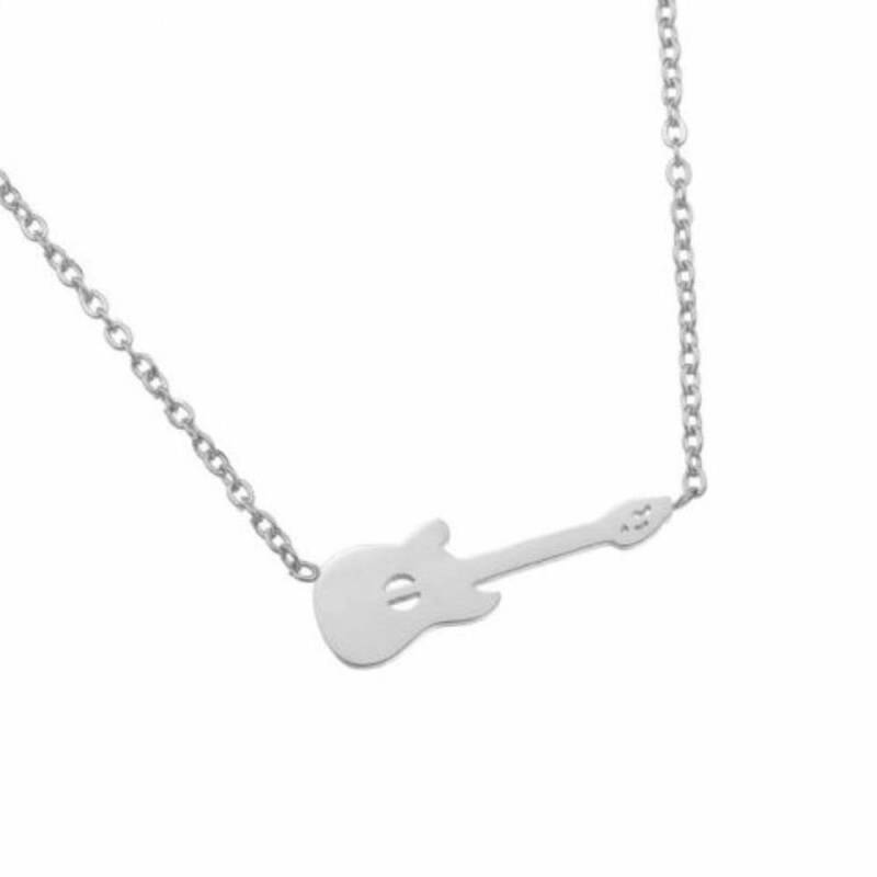 Stainless steel little guitar ketting zilver