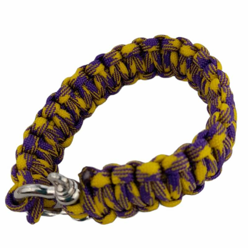 Paracord armband 23 cm paars geel