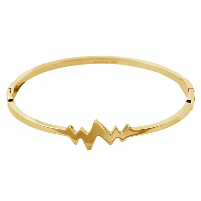 Rvs Armband heartbeat bangle goud