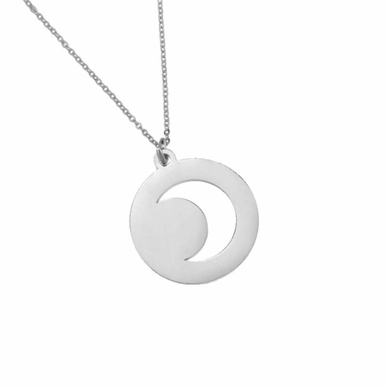 Moon stainless steel ketting zilver