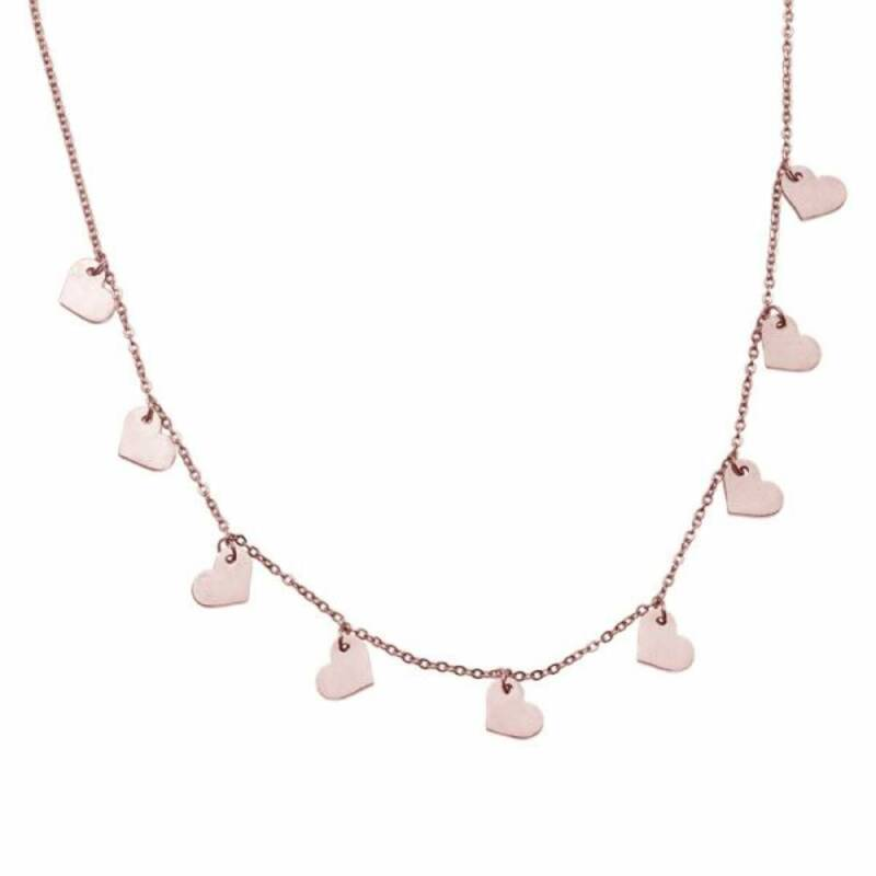 9 hearts stainless steel ketting rose