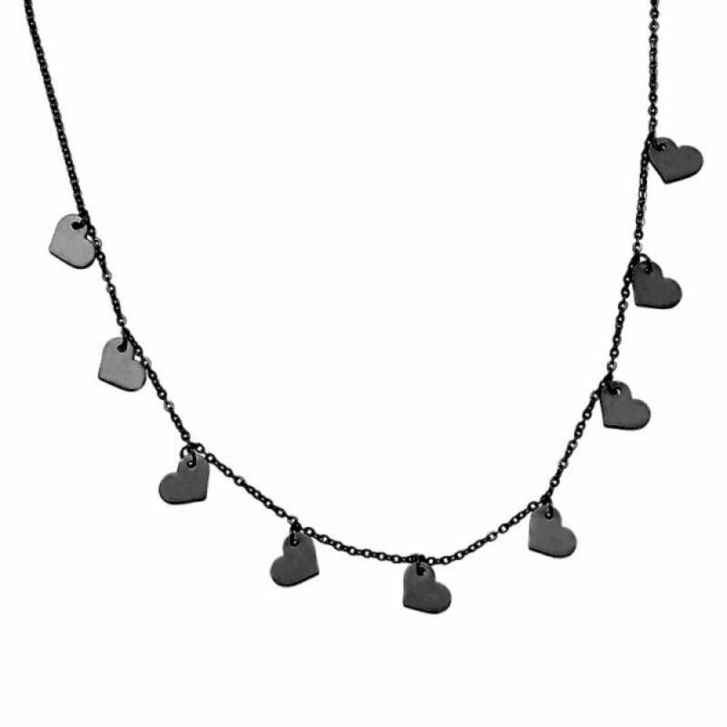 9 hearts stainless steel ketting zwart