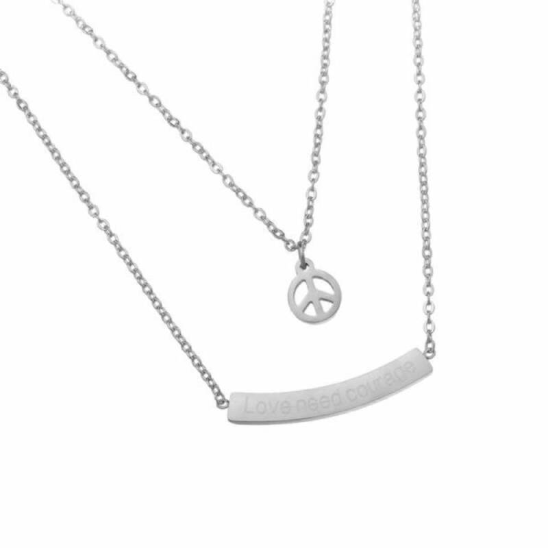 Love and Peace stainless steel ketting zilver
