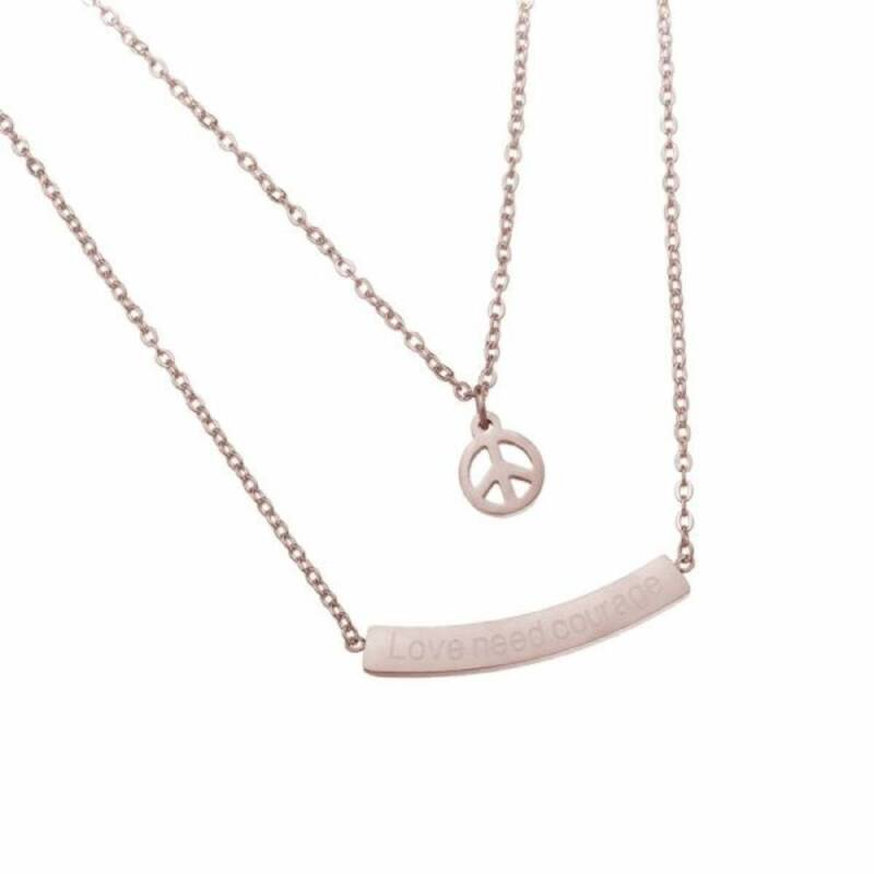 Love and Peace stainless steel ketting rose