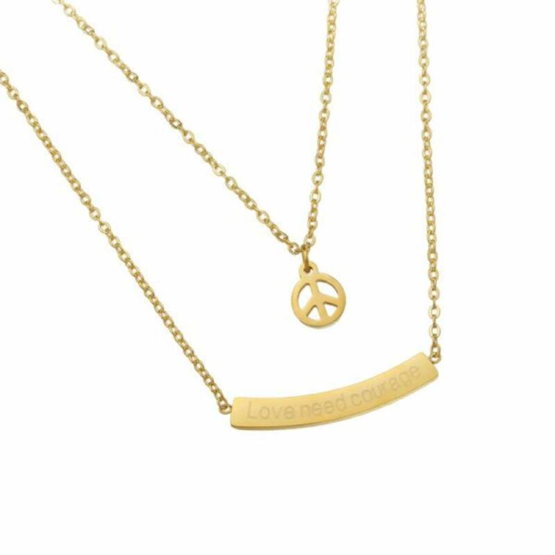 Love and Peace stainless steel ketting goud