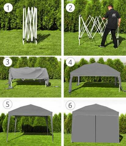 Luxe easy up partytent 3x3m polyester 100% waterdicht en UV bestendig