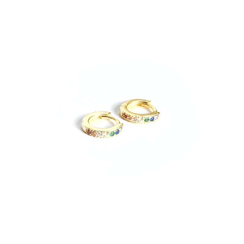 Oorringen -  huggie zirconia multicolour gold