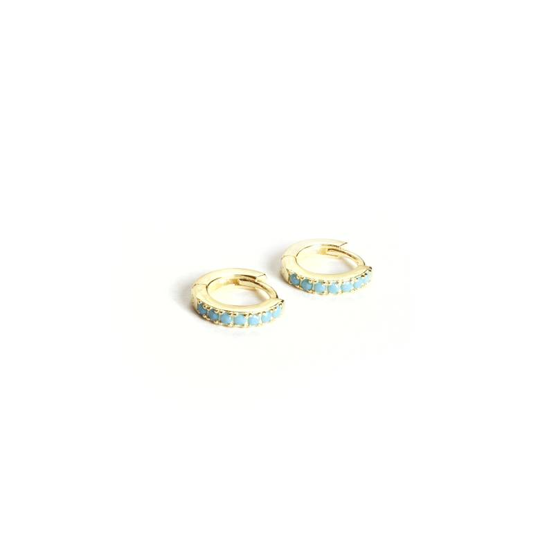 Oorringen -  huggie zirconia gold & blue