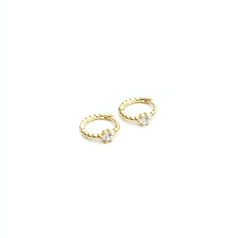 Oorringen -  huggie single zirconia gold