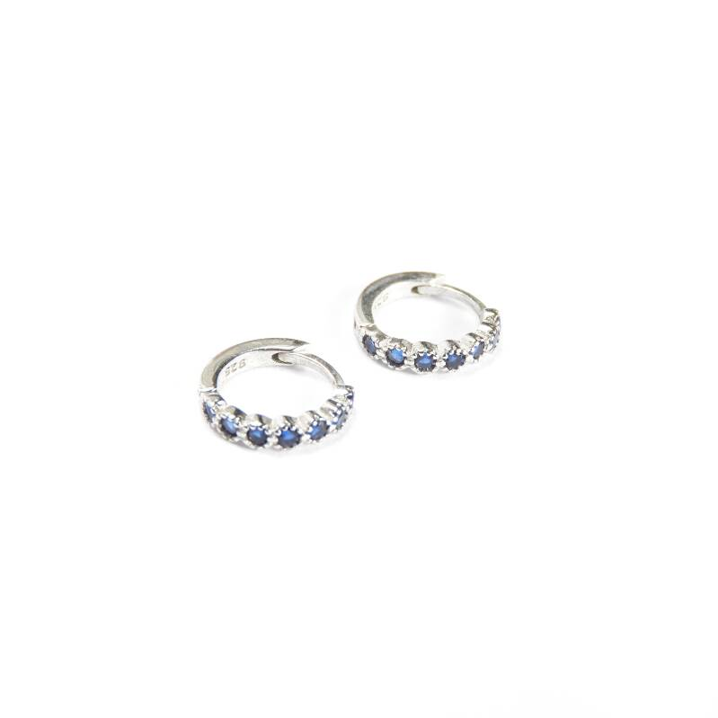 Oorringen -  huggie zirconia bubble silver & blue
