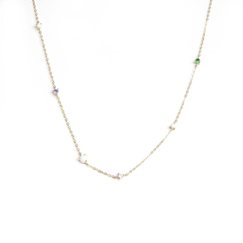 Ketting - multicolour zirconia gold