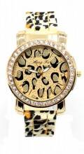 Quartz Watch with Leopard Print and Crystals Rose Gold-Brown Leopard
