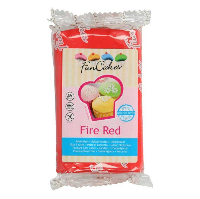 FunCakes Fondant Fire Red 250 Gram